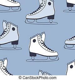 Seamless pattern with racing skates. Hand drawn fashion illustration. Blue Creative ink art work. Actual Winter cozy vector background Ice Skating