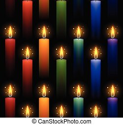 Seamless pattern with rainbow burning candles on a dark...