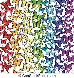 Seamless pattern with rainbow butterflies