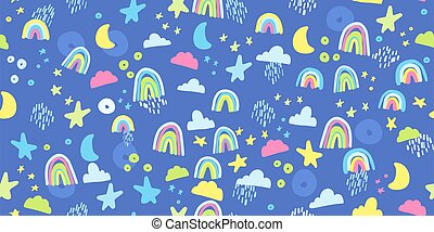 Seamless pattern with rainbow, clouds and stars in pastel colors.