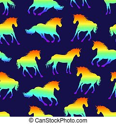 Seamless pattern with rainbow unicorns running.