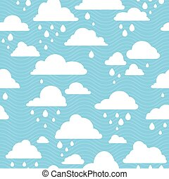 seamless pattern with rainy clouds - Blue sky with rainy...
