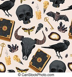 Seamless pattern with raven and magic book