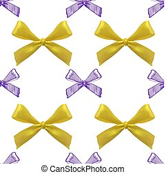 Seamless pattern with realistic and sketched bows on white background. Yellow and purple bows.