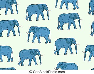 Seamless Pattern with Realistic Elephant