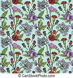 Seamless pattern with Realistic graphic flowers - hand drawn background.
