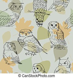 Seamless pattern with realistic owls on the background of leaves