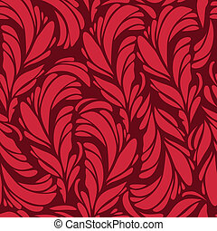 Seamless pattern with red and gold feathers