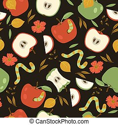 Seamless pattern with red and green apples and worms on a dark background. Vector graphics.