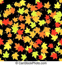 Seamless pattern with red and yellow autumn leaves on black background. Vector illustration.