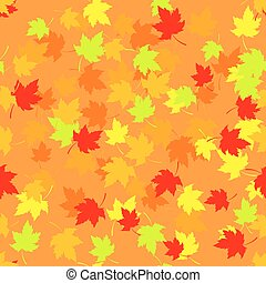 Seamless pattern with red and yellow autumn leaves. Vector illustration.