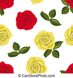 Seamless pattern with red and yellow rose flowers. Vector illustration.