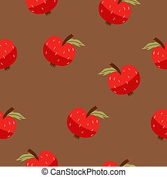 Seamless pattern with red apples on a brown background. Vector graphics