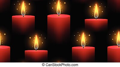 Seamless pattern with red burning candles on a dark...