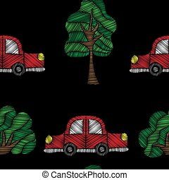Seamless pattern with red car and tree embroidery stitches imitation