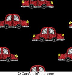 Seamless pattern with red car embroidery stitches imitation