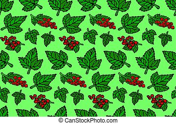 Seamless pattern with red currant