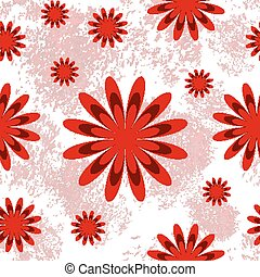 Seamless pattern with red flowers on white