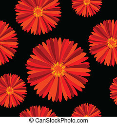 Seamless pattern with red flowers over black background