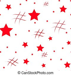 Seamless pattern with red hearts and black stars on white background. Vector illustration