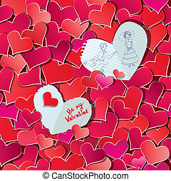 Seamless pattern with Red hearts confetti and two big paper hearts with hand drawn illustration. Valentine's day or Wedding background.
