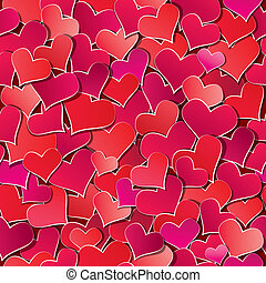Seamless pattern with Red hearts confetti. Valentine's day or Wedding background.