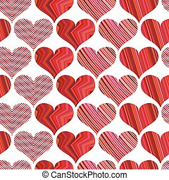 Seamless pattern with red hearts. Different red hearts