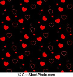 Seamless pattern with red hearts on a black background. Valentine's Day. Vector illustration
