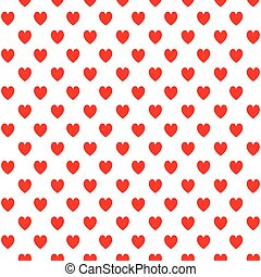 seamless pattern with red hearts on a white background