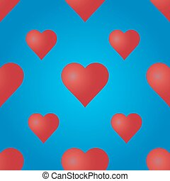 Seamless pattern with red hearts.