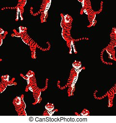 Seamless pattern with red jumping tigers on a black background. Vector graphics.