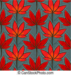 Seamless pattern with red leaves