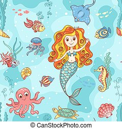 Seamless pattern with red mermaid