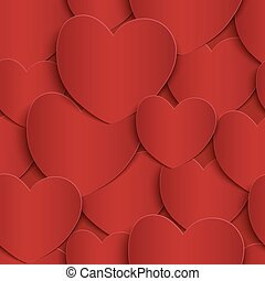 Seamless pattern with red, paper hearts.
