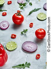 Seamless pattern with red pepper, onion, tomatoes, lime,...
