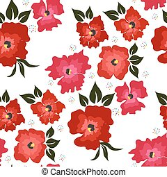 Seamless pattern with red poppies