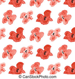 Seamless pattern with red poppies on a white background.