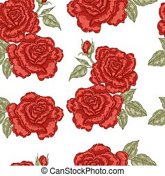 Seamless pattern with red rose flowers on white background. Vector illustration for fabrics