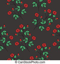 Seamless pattern with red roses on a gray background. Vector graphics.
