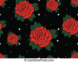 Seamless pattern with red roses on black background