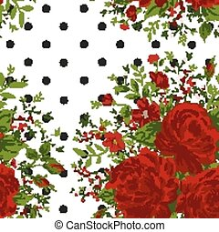 Seamless pattern with red roses on design background, vector illustration