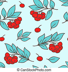 Seamless pattern with red rowanberry - Vector seamless...