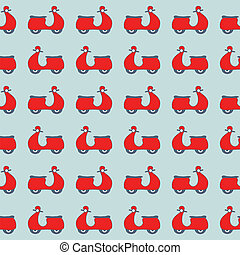 Seamless pattern with red scooters on blue background . Easy...