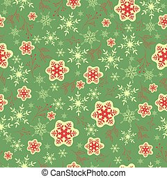 Seamless pattern with red snowflakes on a green background. Vector graphics.