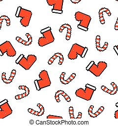 Seamless pattern with red socks for gifts and a striped red-and-white Lollipop. Christmas, new year background