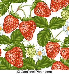 Seamless pattern with red strawberries. Decorative berries and leaves