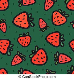 Seamless pattern with red strawberries