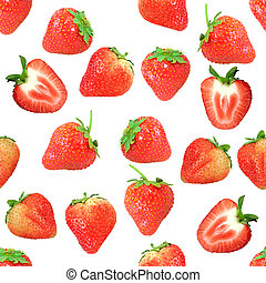 Seamless pattern with red strawberryes