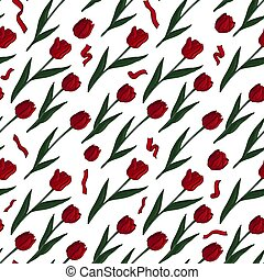 Seamless pattern with red tulips and ribbons