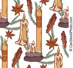 Seamless pattern with relax candles. Coloring sketch. Various wax candles with star anise, cinnamon stick, branch junipiter. Vector spa, relaxation elements